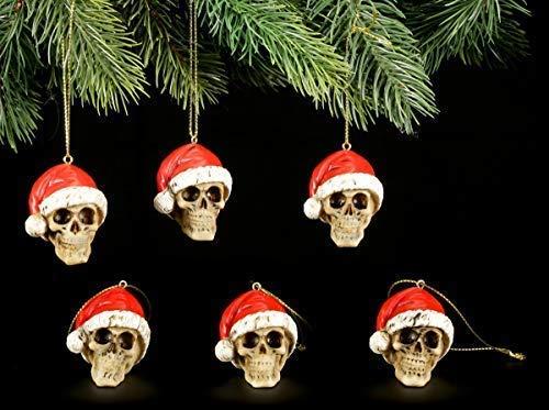 Figuren Shop Gmbh Gótico Bolas para Árbol de Navidad - Juego de 6 Calaveras con Gorro de Navidad | Artículo Decorativo para Colgar, Pintado a Mano