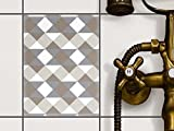 creatisto Fliesen dekorativ | Deko-Fliesenaufkleber Badezimmerfolie Dekorfolie Wand Deko | 15x20 cm Muster Ornament Triangle Pattern - Grau - 1 Stück
