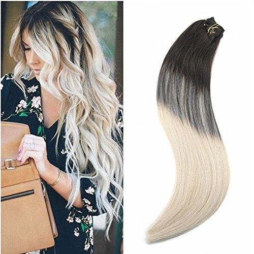 Ugeat 20pollice/50cm 120g estensione capelli veri clip extension di capelli 100 humano capelli umani dritti balayage colore darkest brown con bionda piu leggera #2/60