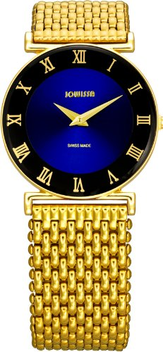 Jowissa Roma Women's Quartz Watch with Blue Dial Analogue Display and Gold Stainless Steel Bracelet J2.042.M