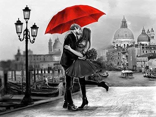 Keilrahmen-Bild - Michael Tarin: B W Venice Love Leinwandbild Paar Kuss Schirm rot Venedig San Marco Romantik (60x80)