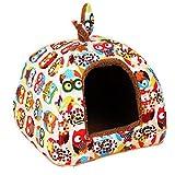 Urase Hundehöhle Katzenhöhle Hundehütte Hundebett Katzenbett Hundehaus Haustier Zwinger Abnehmbares Matte Kissen für Kleine Haustier Hund Katzen