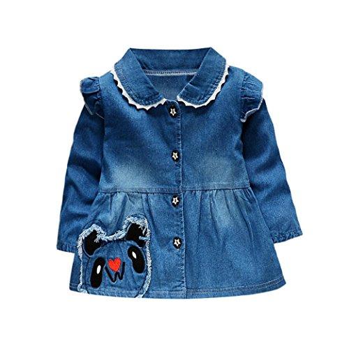 SHOBDW Girls Dresses, Toddler Baby Ruched Dot Stars Print Long Sleeve Princess Denim Dress Spring Outfits (0-6 Months, E-Blue)