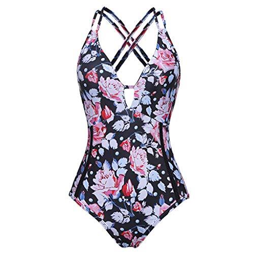 AIni Damen Badeanzug Retro Tief V Ausschnitt Floral Print Halfter Einteiler Eintauchen Rückenfreie Monokini-Badeanzug Bademode