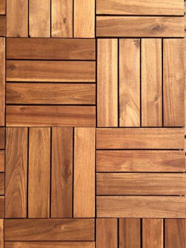 HARDWOOD Decking Tiles Wooden Interlocking Connecting Square Patio 18 A