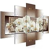 Bilder Blumen Orchidee Wandbild 150 x 100 cm Vlies - Leinwand Bild XXL Format Wandbilder Wohnzimmer Wohnung Deko Kunstdrucke Braun 5 Teilig -100% MADE IN GERMANY - Fertig zum Aufhängen 205453c