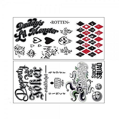 DC Comics Suicide Squad The Joker & Harley Quinn Cosplay Temporary Tattoos (Harley Quinn Kostüm Tattoos)