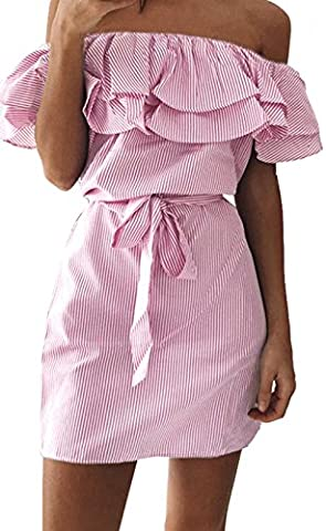 ALAIX Fashion Women Off Shoulder Ruffles Striped Skirt A-Line Casual