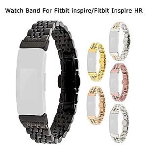 Groust Edelstahl Gurt, Uhren Metall Ersatzband Kompatibel Für Fitbit Inspire & Fitbit Inspire, Doppeltaste Faltschließe, Hochwertiger Rostfreier Stahl, Mehrfarbig Optional