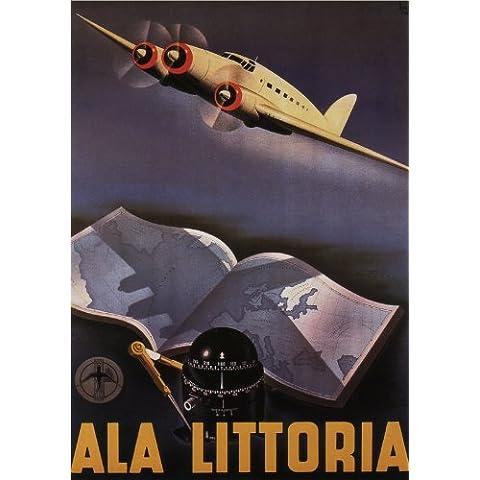 ALA LITTORIA - LINEA AEREA ITALIANA - 1935 - Poster delle Linee Aeree Vintage dell'Italia A3 Finitura Opaca (420 mm x 297 mm)