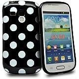 Accessory Master Coque en silicone pour Samsung Galaxy S3 Mini i8190 Motif Polka Dots Noir/Blanc