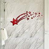 Adesivo Murale Specchio Lucido Stella Cometa Personalità Wall Sticker Soggiorno Camera Da Letto Decorazione Della Parete Rossa