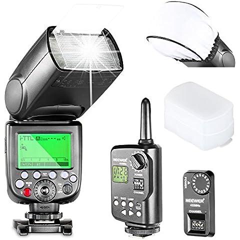 Neewer® 2.4G Inalámbrico HSS NW880CN i-TTL II Master / Slave flash Speedlite Kit para Canon Cámara réflex digital, Kit incluye: 1 * NW880C + 1 * FT-16S Disparador (Transmisor + Receptor) + 1 * Universal Mini Caja de luz Difusor