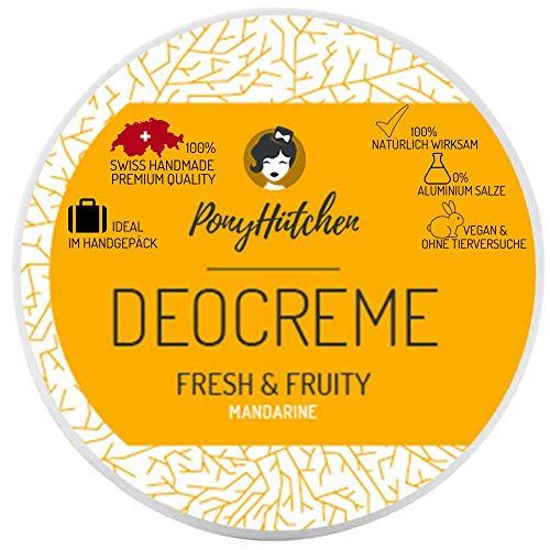 PonyHütchen Deocreme ohne Aluminiumsalze + 50 ml Naturkosmetik Deo Creme + BIO + VEGAN + SWISS HANDMADE + ideal im Handgepäck + 100% natürlich wirksam - 0% Aluminiumsalze (Fresh & Fruity)