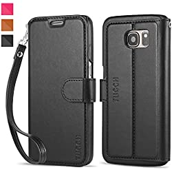 TUCCH Samsung S7 Leather Folio Slim Wallet Case (Black)