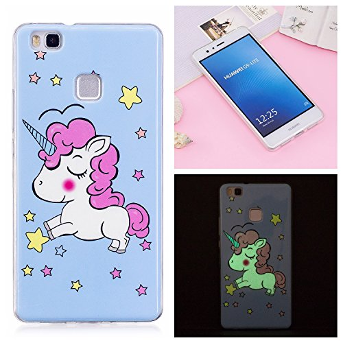 Coque Huawei P9 lite, BONROY Licorne Bleue Motif Mode Night Etui Coque Housse Luminous Effect Noctilucent Green Glow in the Dark Ultra Mince Soft Rubber Souple TPU Silicone Case Cover Anti-scratch Anti Choc Flexible Bumper Protective Cover Skin Shell Pour Huawei P9 lite