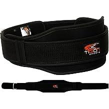 Cinturón de neopreno para levantamiento de pesas, gimnasio o fitness, de doble apoyo, S (68,5-83,8 cm)