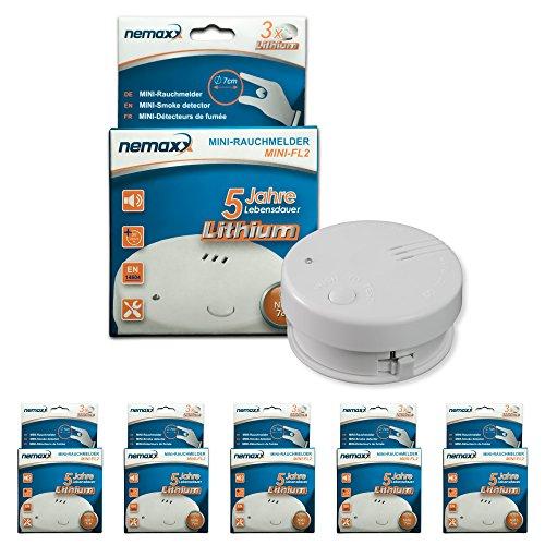 5x Nemaxx Mini-FL2 Rauchmelder - hochwertiger & diskreter Mini Brandmelder Feuermelder...