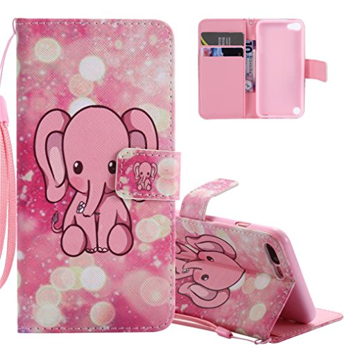 iPod Touch 5 / 5G Hülle Mädchen,iPod Touch 5 / 5G Hülle Leder für iPod Touch 6 / 6G,iPod Touch 5 Hülle Flip Case,EMAXELERS iPod Touch 5 Hülle Leder Wallet,iPod Touch 5 Hülle Cute Anime Blumen Muster PU Lederhülle Flip Case Bookstyle Folio Handyhülle Flip Cover,iPod Touch 5 / 6 Hülle Pretty Bunte Muster PU Leder Ledercase Flip Tasche Brieftasche Bumper Wallet Tasche Etui für iPod Touch 6G / 5G,Pink Cartoon Elephant (Ipod 4 Folio)