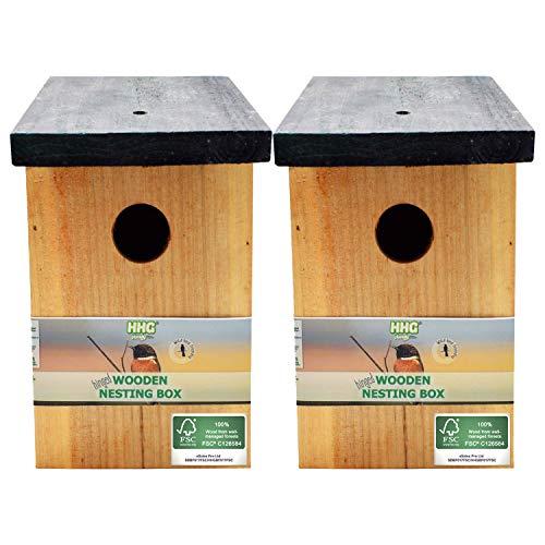 2 x Handy Home and Garden Nichoir en Bois Traité à la Pression Boîte de Nidification Maison d'Oiseau Sauvage - Fabriqué avec 100% de Bois FSC, des Forêts Durables Respectueuses de l'environnement