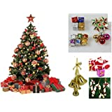 WebelKart 76 Pcs Christmas Tree Decorations Set (Balls, Bells, Gifts, Pine Trees, Stars, Candy Sticks & Santa Claus)
