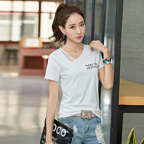 Sommer koreanischen Kurzarm-T-Shirt weiblichen Buchstaben Druck Boden Shirt Damen T-Shirt Frauen weiß XXL