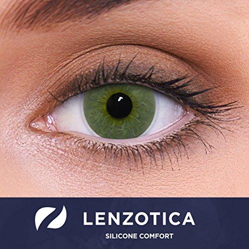 """Stark deckende natürliche grüne Kontaktlinsen farbig \""""Platinum Green\"""" + Behälter von LENZOTICA I 1 Paar (2 Stück) I DIA 14.00 I ohne Stärke I 0.00 Dioptrien"""
