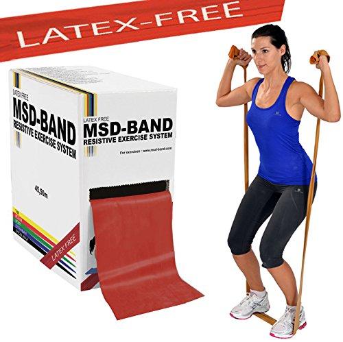 Msd fascia latex free media 45,50 mt primo allenamento fitness rotolo banda elastica rossa