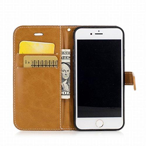 LEMORRY Cover Apple iPhone 7 Custodia Pelle Portafoglio Cuoio Flip Borsa Con Slot per Schede Sottile Protettivo Magnetico Chiusura Morbido Silicone TPU Cover Case, Stile del denim Azzurro Blu