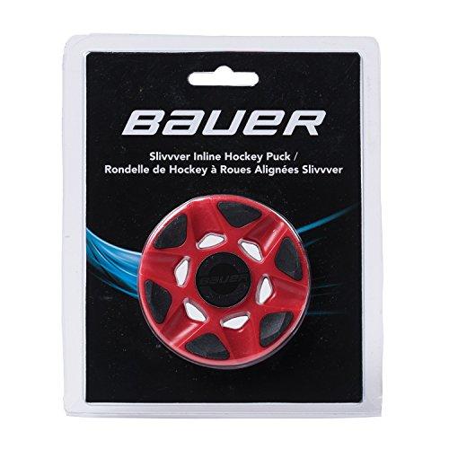BAUER - Silvvver Inline Hockey Puck I Streethockey-Puck I Puck für Roller- und Inlinehockey I Indoor Puck mit geringer Reibung I verhindert Puckspringen - Rot -