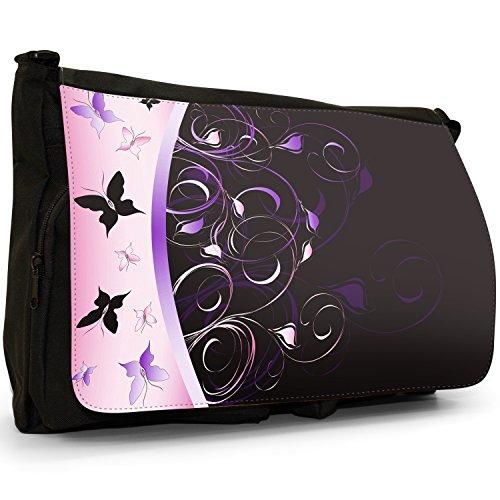 Elegante farfalla Vortici–Borsa Tracolla Tela Nera Grande Scuola/Borsa Per Laptop Pink & Purple