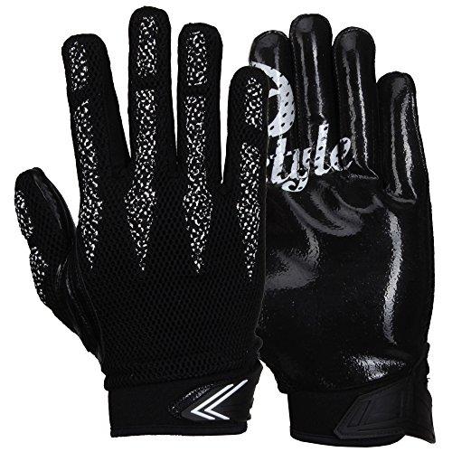 Prostyle Arrow, leicht Gepolsterte Football Receiver Handschuhe - schwarz Gr. M