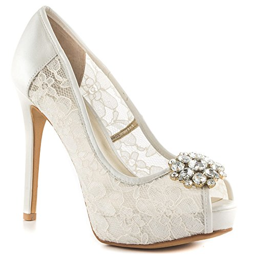 Indovina Hot Spot Lace Pumps White Lace