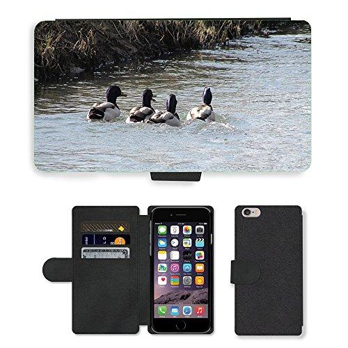 Just Mobile pour Hot Style Téléphone portable étui portefeuille en cuir PU avec fente pour carte//m00139084Mallards Drake Canard de bain d'oiseaux d'eau//Apple iPhone 6Plus 14cm