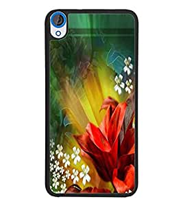 PrintDhaba Flowers D-2290 Back Case Cover for HTC DESIRE 820 (Multi-Coloured)
