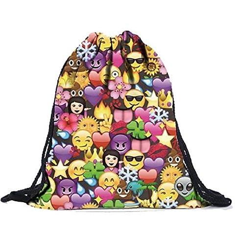 Sacs à dos emoji impression 3D Party Sac à dos Drawstring école