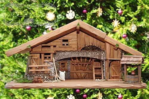 Große Weihnachtskrippe + Zubehör, 70-cm Ausführung: massiv Vollholz Massivholz, Krippe und Krippenstall
