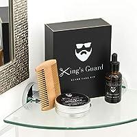 King's Guard Luxury Grooming Beard Care Kit – Natural Beard Oil + Beard Comb + Beard Balm - Perfect Gift Kit