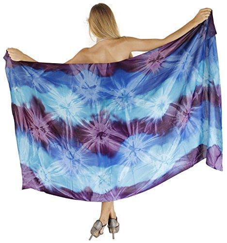 LA LEELA sanfte Farbstoff Rayon Hand Krawatte Wirbel lila Rock 78x43 Zoll verschleiern - Kimono Krawatte Wrap Top