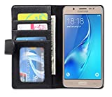 Cadorabo - Book Style Wallet Design for Samsung Galaxy J5 (6) (Model 2016) with 3 Card Slots - Etui Case Cover Protection Pouch Skin in MIDNIGHT-BLACK