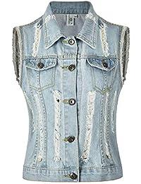 MISS MOLY Damen Jeans Weste Denim Ärmellos Jeansjacke mit Ziertaschen bdcf6b41bb