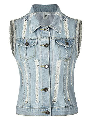 MISS MOLY Damen Jeans Outwear Jeansweste mit Knopfverschluss Kurz Beiläufig Hell Blau - M -