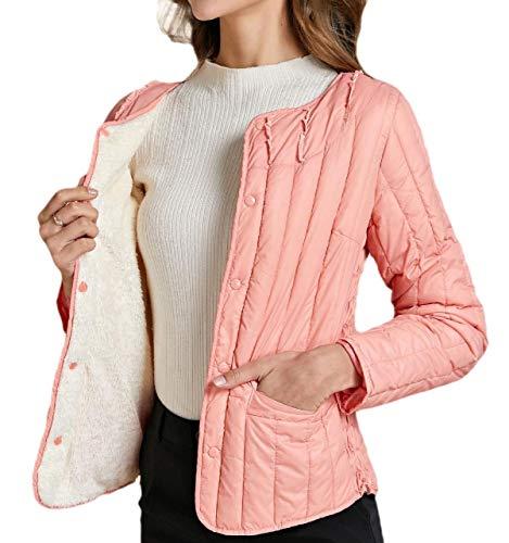 BingSai Womens Crew-Neck Quilted Jacket Winter Fleece Lined Coat Warm Outwear 1 S -