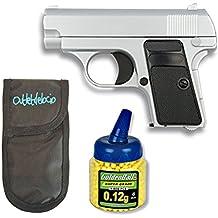 Outletdelocio. Pistola airsoft Mini G1 color Plata, metalica. Calibre 6mm. + Funda Portabalines + Biberon 1000 bolas