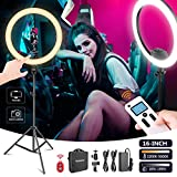 Neewer Avanzado 41cm LED Anillo Luz Control Manual Táctil con Pantalla LCD Control Remoto Control Luces Múltiples 3200-5600K Soporte Incluido para Maquillaje Youtube Blogger(Negro)
