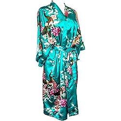 Kimono de CC Collections 16 Colores Shipping Bata de Vestir túnica lencería Ropa de Noche Prenda Despedida de Soltera (Azul Turquesa)