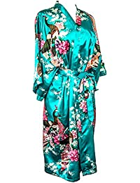 CCCollections Kimono 16 Colours Premium Version Peacock Premium Dressing Gown Robe Satin Silk Feel Cosplay Gift Loungewear