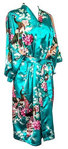 CCCollections kimono night dress 16 colours dressing gown robe lingerie night wear dress bridesmaid hen night (Turchese (turquoise))