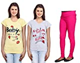 Indistar Women 2 Cotton T-Shirt with 1 C...
