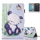 Tab E 9.6 Custodia, Aeeque Panda Cute e Farfalle Modello Ultra Sottile Smart Cover in Pelle PU per Tablet Samsung Galaxy Tab E 9.6 (2015) SM-T560/T561 Porta Carte Funzione Libro Portafoglio Rigida